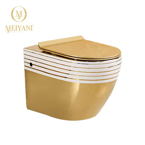 MEIYANI PLATE GOLDEN WATER CLOSE WC GOLD SEAT COVER WASHDOWN WALL HUNG TOILET