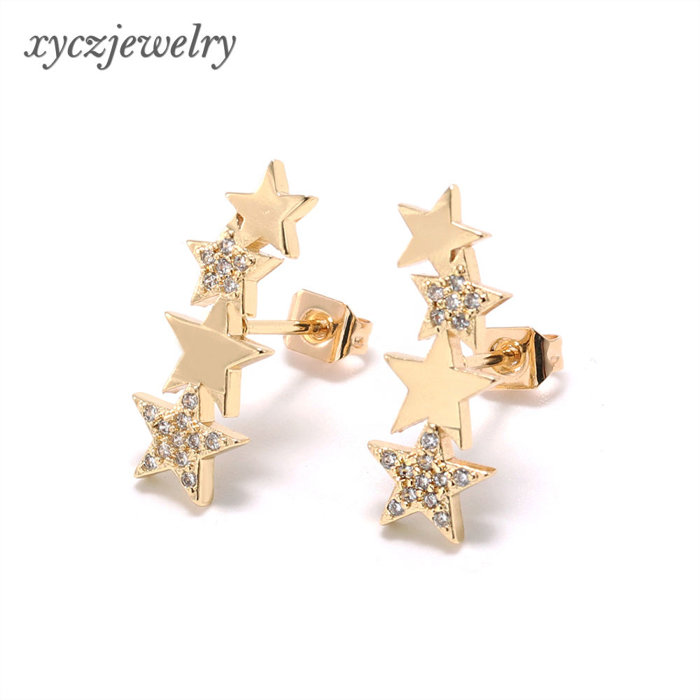 4 pieces//set Vintage Starfish Shell Earring Set Shellhard Colorful Metal Sea Star Shell Stud Earrings