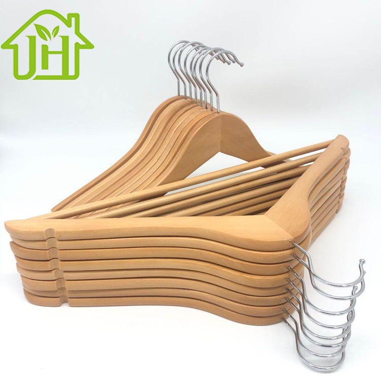 New design hot sale factory price luxury antislip space saving natural wooden shirt coat hanger