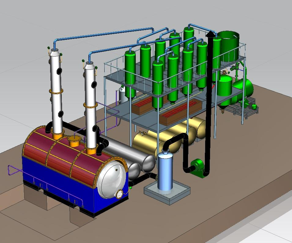 Rubber\plastic\tyre oil refining to diesel distillation plant