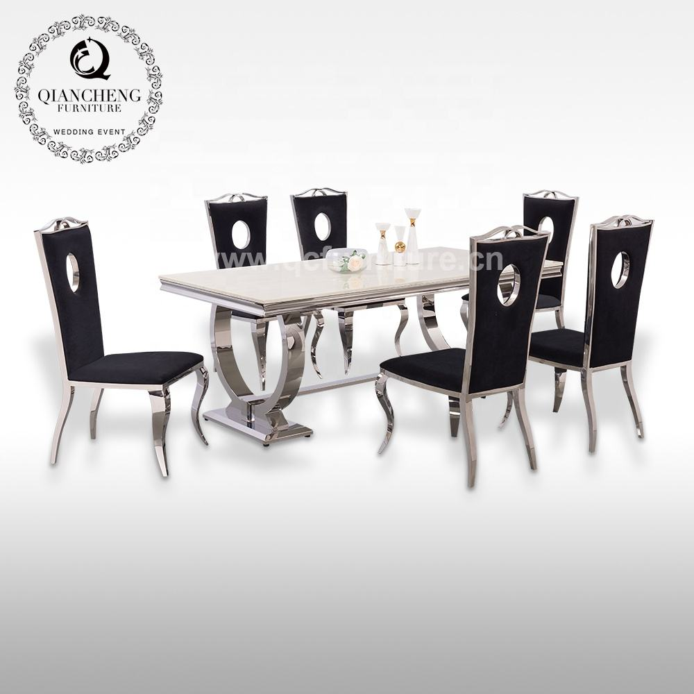 high gloss artificial marble top 12 seater dining table stainless steel base