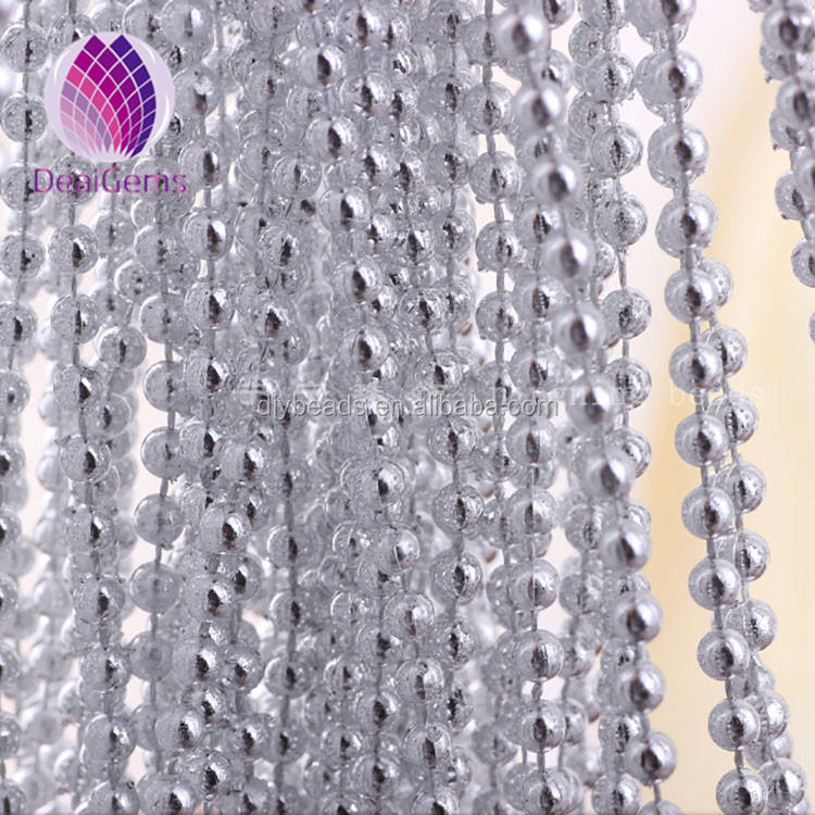 wholesale decorative connecting necklace 8mm silver plated plastic round beads chain sold by kilograms for clothing