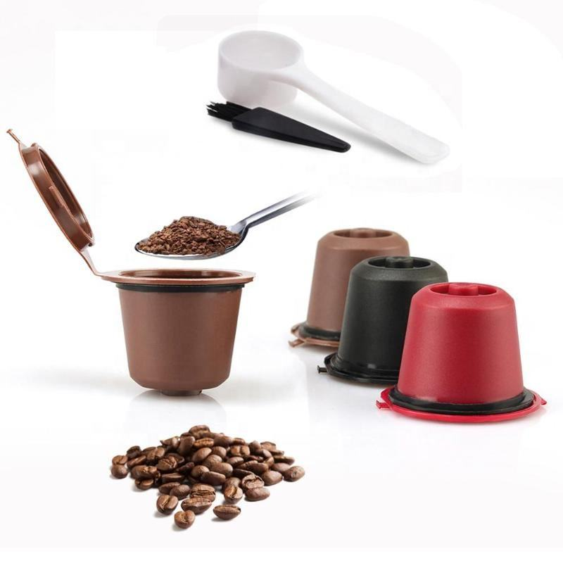 3pcs Refillable Reusable Nespresso Coffee Capsule With 1PC Plastic Spoon Filter Pod For Original Line Siccsaee Filters