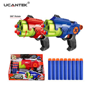 Shooting Game Plastic Manual Revolver Gun Kids Air Blaster 9PCS EVA Soft Bullet Gun Toys For Boys