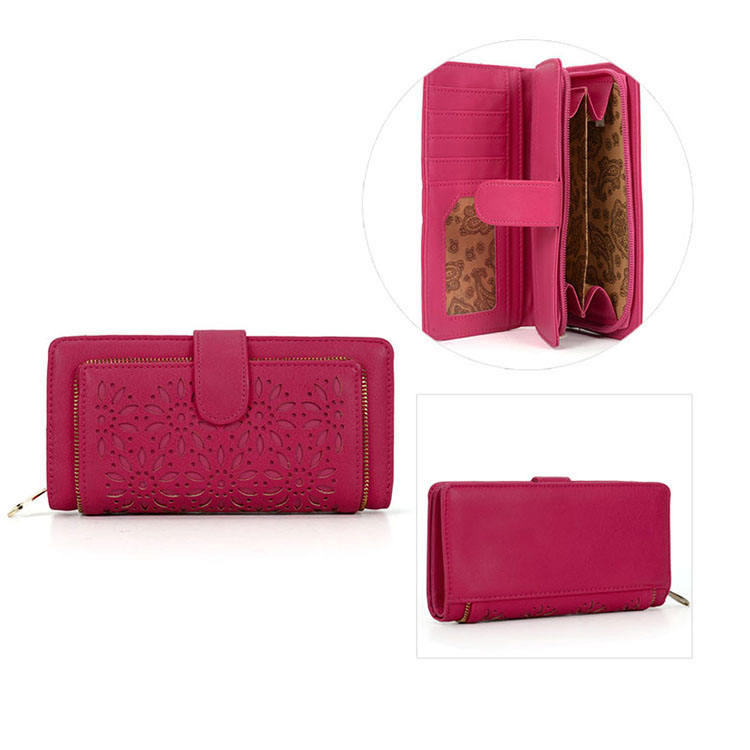 China Factory Wholesale Fashion Design RFID PU leather lady wallet, wallet with card holder&phone pocket