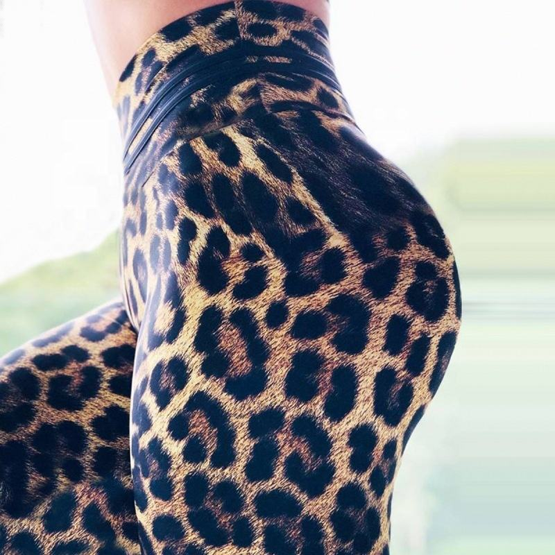Trendy Stretch Pant Leopard Animal Print Yoga Deporte Hoge Waisted Workout <span class=keywords><strong>Leggings</strong></span> Voor <span class=keywords><strong>Vrouwen</strong></span>