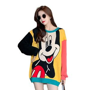 New arrival crew neck western style cartoon mouse print loose women sweater