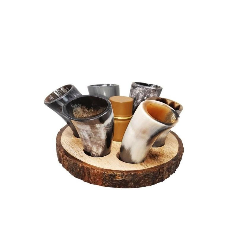 6 horn glass pieces with mango wood stand natural fishing horn party ware horn