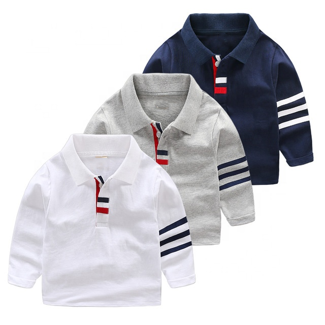 Neue ankunft herbst 100% baumwolle baby junge kinder <span class=keywords><strong>polo</strong></span> shirts für schuluniform mit langarm