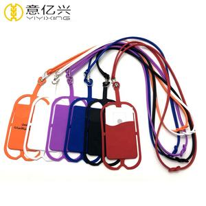 Cell Phone Holder Silicone Wallet Case Credit Id Card Bag Phone Use Cool Lanyard With Custom Logo Wholesale