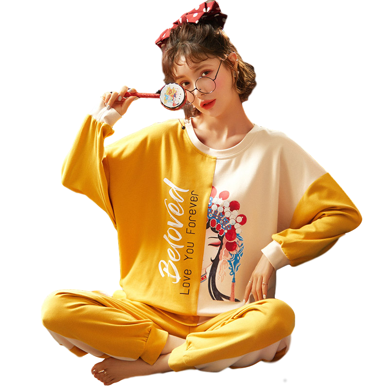 Chinese style pajamas pullover women's autumn and winter long sleeve cotton two-piece suit drama pattern girls' home clothes tre