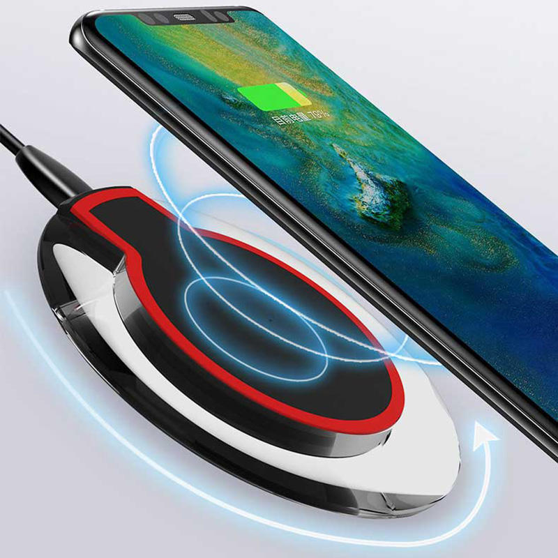 Free Sample Universal Crystal Qi Wireless Charger With LED Light Mobile Phone Wireless Charging