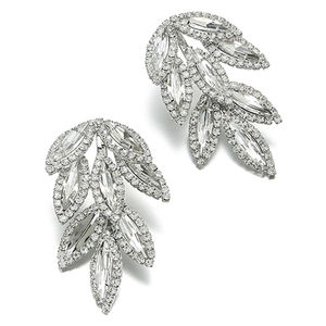 Showdigu High Quality Wholesale Leaves Long Drop Earring geometric leaf earring