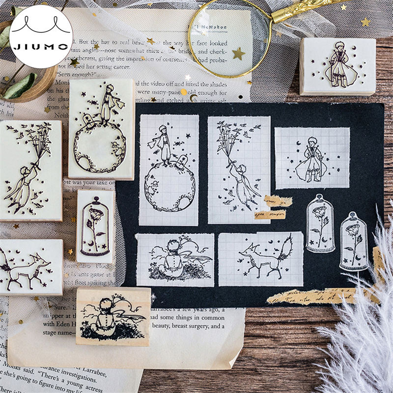 Dreamy Cartoon Little Prince Rose Fox Wooden Rubber Stamps for Scrapbooking Decoration DIY Craft Standard Wooden Stamps JIUMO