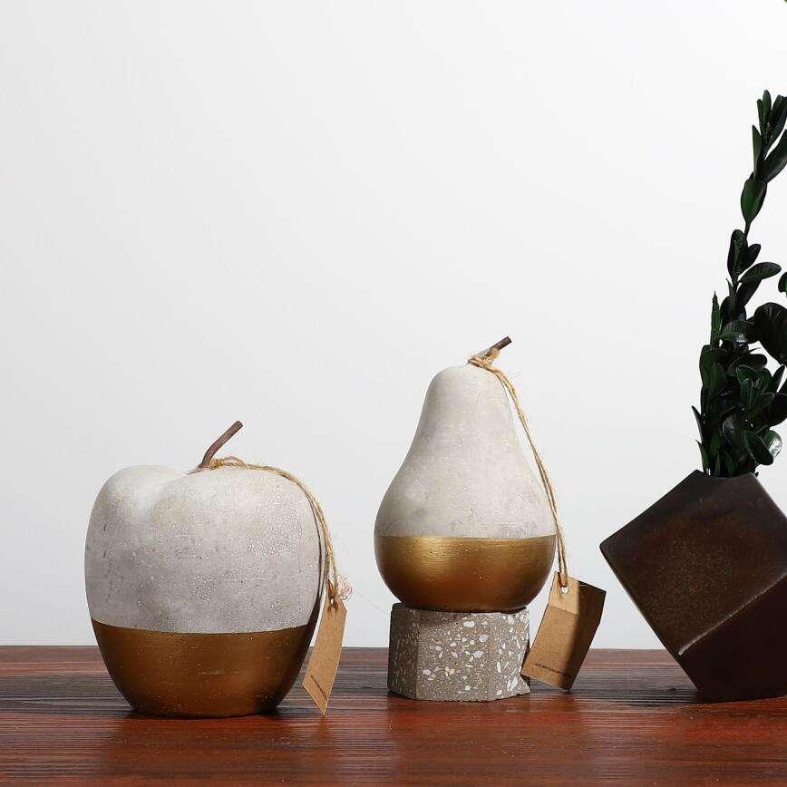 de frutas de oro en forma de hogar Decoración adornos/cemento apple pera mostrar piezas para la decoración de la <span class=keywords><strong>casa</strong></span>