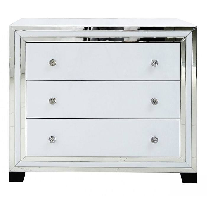 SWT White glass mirrored 3 drawer elegent venetian chest of drawer mirror cabinet for bedroom