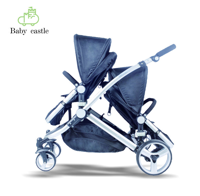 factory EN1888 AS/NZ2088 pu wheel 0-36 months aluminum frame double twin baby stroller