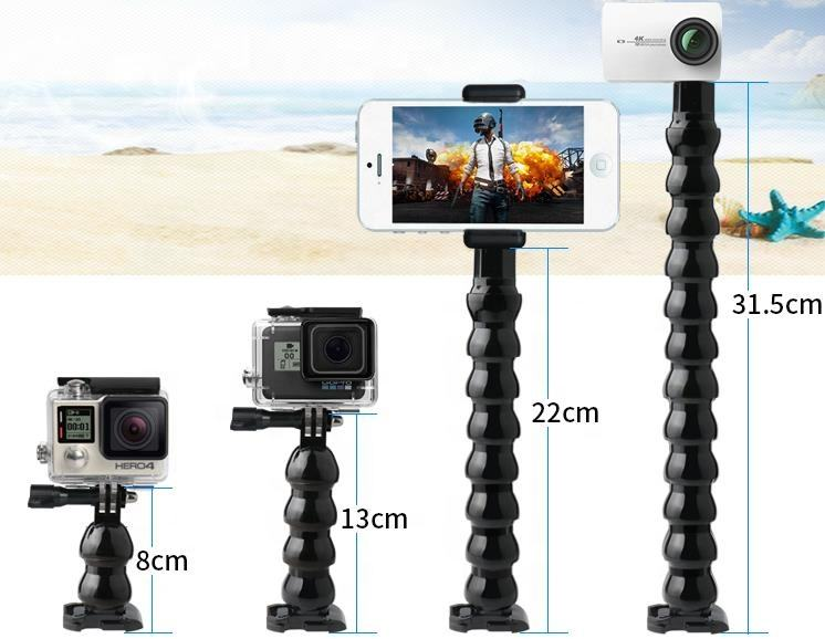 Go Pro Jaws Flex Clamp Goose Neck Extension Arm 2/4/8/12 Joints Tripod Mount For Gopro Hero 7 6 5 SJCAM XIAOMI YI 4k Camera
