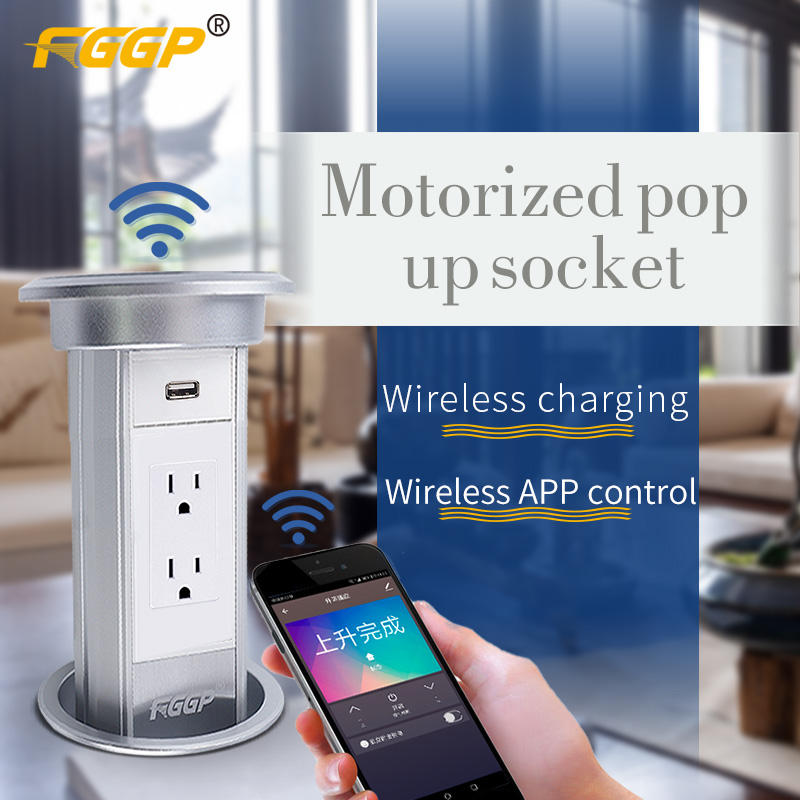 American Smart automatic motorized Pop Up outlet Power Tower Outlet wifi wireless charger/ tower socket US standard