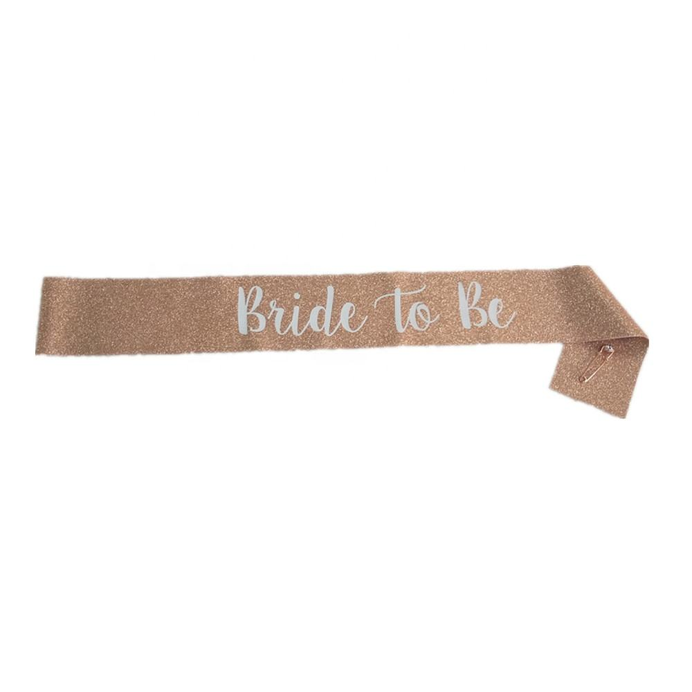 engagement party decoration bridal shower sash gift bachelorette party sash rose gold gold glitter bride to be sash with pin