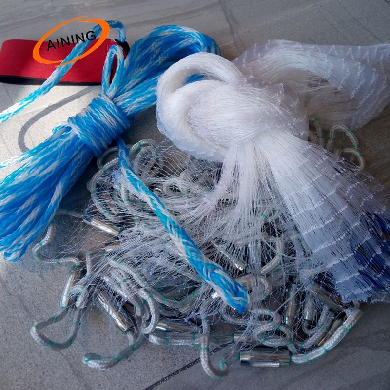 US 4FT Fishing Cast Net Bait Easy Throw Hand Mesh Telescopic Folding Landing Net