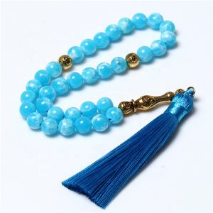 New Fashion 8MM Blue Stone 33 Islamic Prayer Beads Muslim Rosary Thread Tassel Tasbih