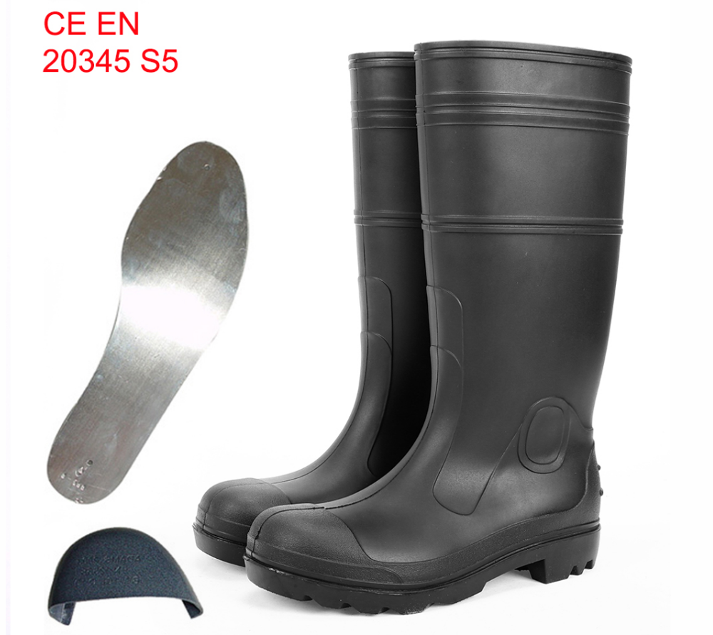 Waterproof rain boots Mens PVC Injection Safety Rain Shoes working rubber shoes