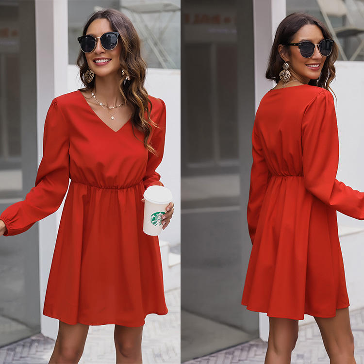 Factory direct marketing solid color women boutique dress clothing casual dresses apparel stock