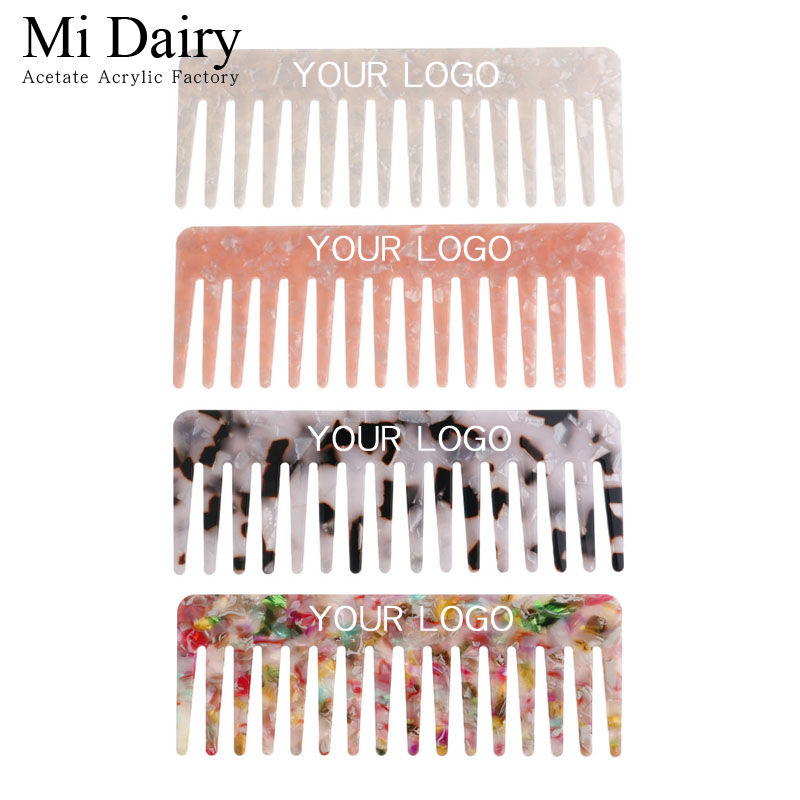 4mm 15.9x5.8cm Factory direct sale acetic acid plate comb marble leopard pattern hairdressing comb wide tooth comb