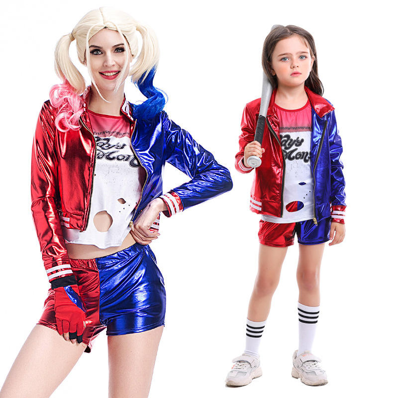 <span class=keywords><strong>Clown</strong></span> Ensemble femme Halloween Harley Quinn Tenue Parent-enfant