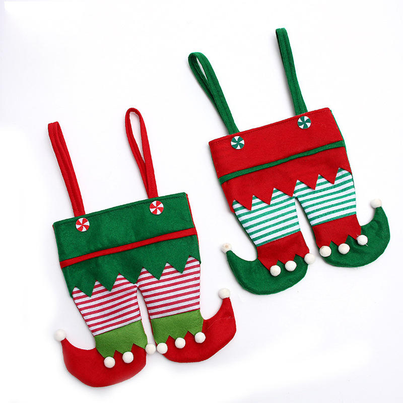Santa's Christmas decorations red pants candy bag christmas santa elf gift bag restaurant red wine bag decoration
