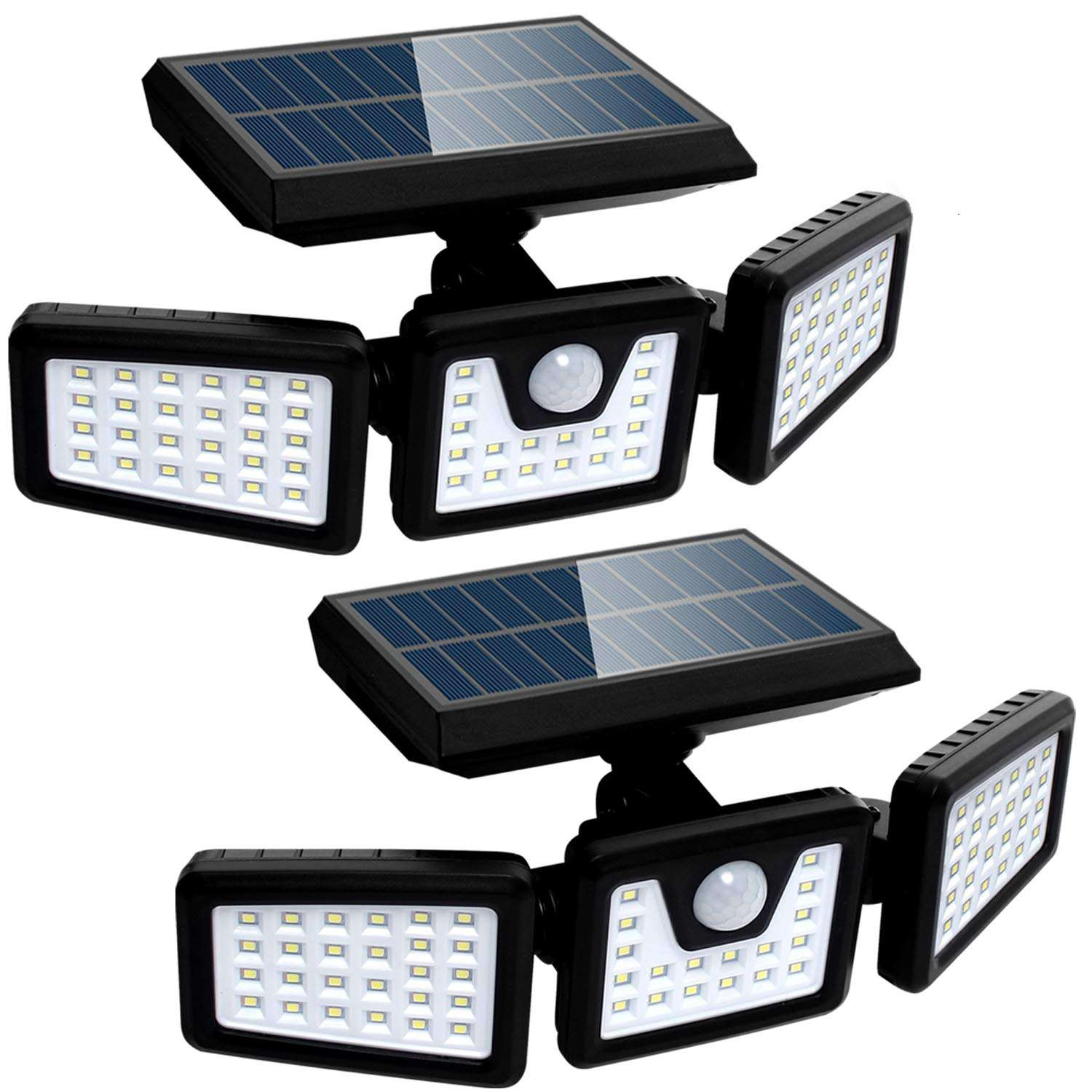 ABS Plastic High Quality Waterproof Solar Light Outdoor With Motion Sensor 3 Head Security Lights Solar Powered PIR Sensor Light