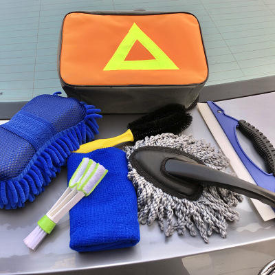 Draagbare Wasstraat Accessoires Kit Emmer Spons Handdoek Detaillering Borstel 7 Pcs <span class=keywords><strong>Auto</strong></span> Cleaning Tools <span class=keywords><strong>Set</strong></span>