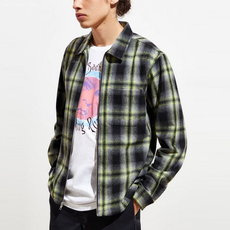 regular fit zip up wholesale custom men plaid mens flannel shirt