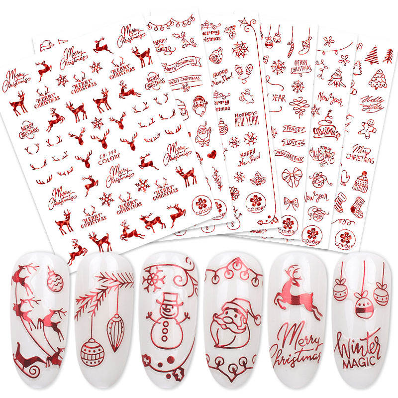 Stamping Gold Sliver Laser Red 3D Xmas Christmas Winter Snowflake Decals Decorations Adhesive Nail Sticker