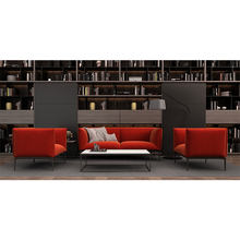 Modern Fashion Red Fabric Steel Leg Sofa with Armrest