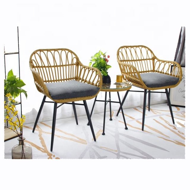 Cane Plastic Armrest Garden Rattan chair balcony furniture outdoor garden sets glass teble and Rattan wicker chair