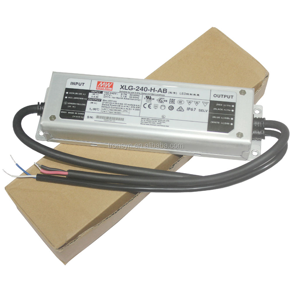 Led Dimmable Driver Meanwell Authorized XLG-240-H-AB 240W Waterproof Dali Dimmable LED Driver Built-in 3 In 1 Dimming Function