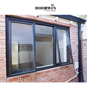 New Design Modern Standard Size Custom Top Hung Aluminum Frame Swing Bathroom Awning Casement Window