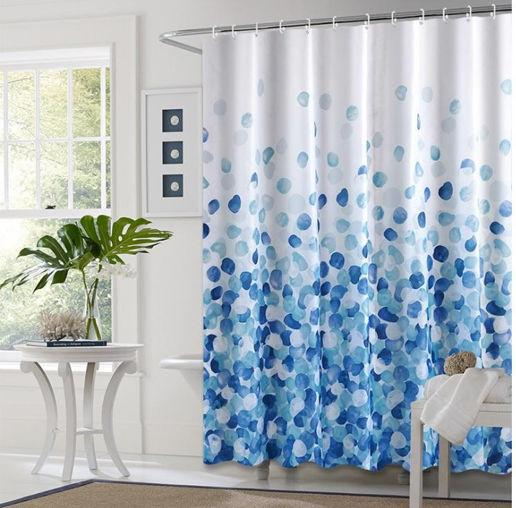 Customized European luxury waterproof cloth flower partition bathroom shower curtain
