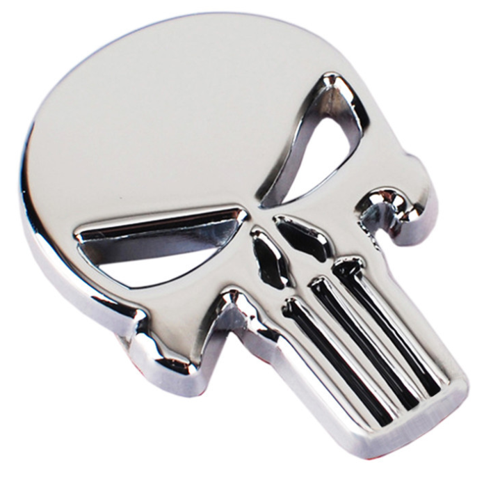 Personalizzato Halloween Autoadesivo Dell'automobile del Metallo Del Cranio Auto Emblema Hallowmas Auto Badge Punisher
