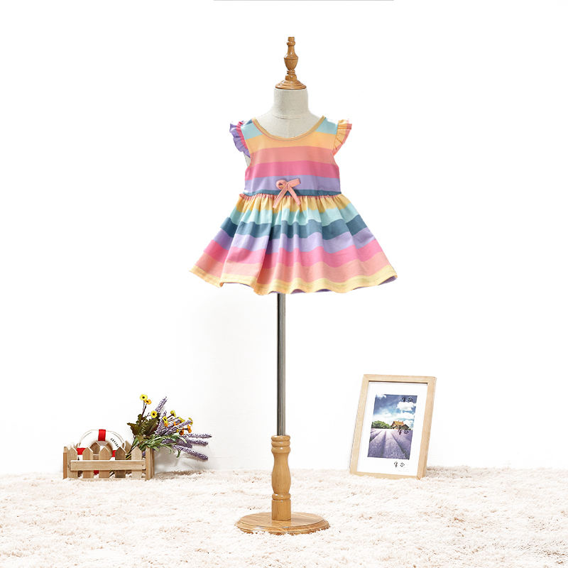 Baby Rainbow Stripe Princess Dress Children Girl Cotton Summer Sweet Angel Wing Skirt Clothes Kids Party Frock Girls Dresses