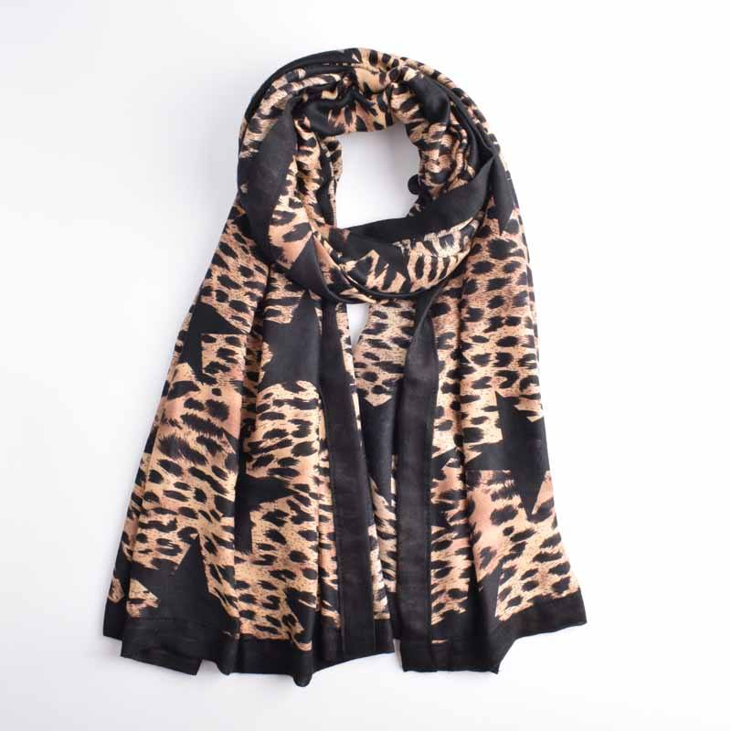 Wholesale 2020 new style angel scarf design high quality black star leopard print edge women rectangle scarf