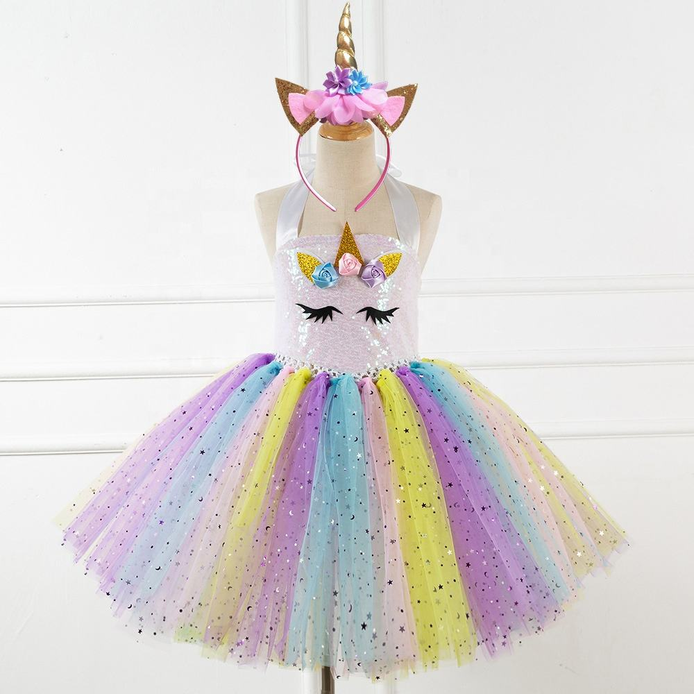 Hot Products Unicorn Dress Girls Sequins Tops Mesh Rainbow Tutu Skirt Girl Party Dress Princess Birthday Costume Send Headwear