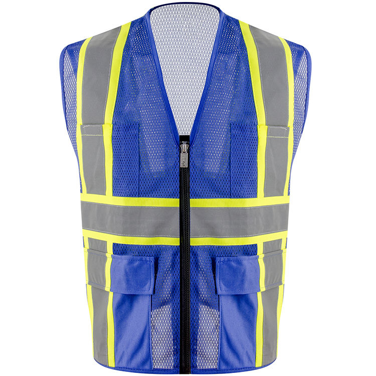 ZUJA Factory Blue Mesh Construct Workwear Hi Vis Safety Reflective Vest