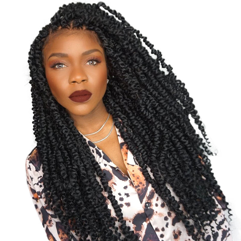 24inch African Braided Lace Wig Spring Twist Crochet Box Braid Lace Front Synthetic Hair Faux Locs Wigs for Women