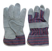 26cm Size 10 XL Cow Leather Woven Fabric Garden Mans Working Gloves for Heavy Work