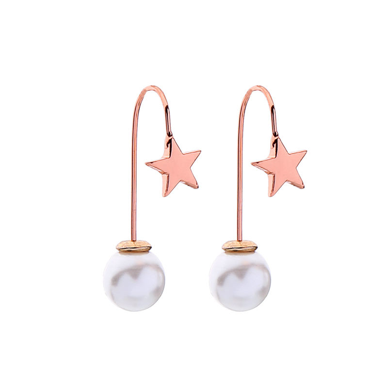 me97252 Hot Sale Women Designers 18 K Real Gold Plated Pearl Brass Star Earrings For Lady