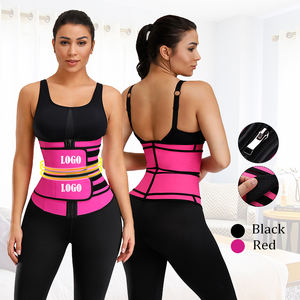 Custom Logo New Workout Lose Weight Tummy Control Shaper Compression Double Belt Women Latex Waist Trainer Corset