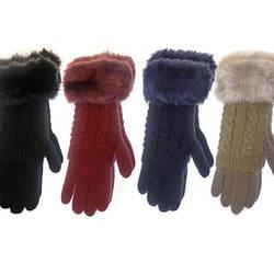 Womens Winter Gloves Mitten with Faux Fur Cuffs